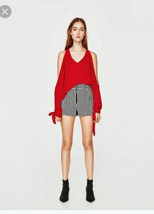 Блуза zara,красная блузка,блуза с открытыми плечами