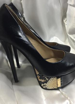 Туфли экокожа на высоком каблуке черные размер 35