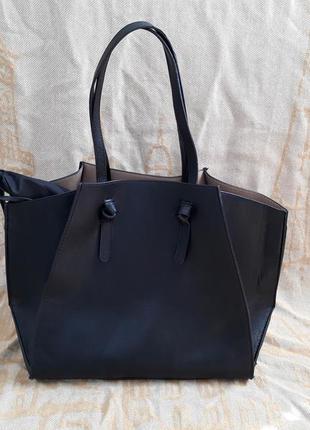 Стильная черная сумка шоппер zara