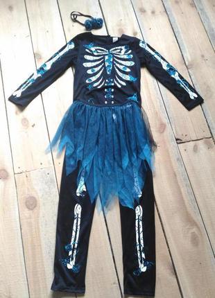 Карнавальный костюм на хэллоуин скелет гламурный 11 12 лет с юбкой и декором в волосы