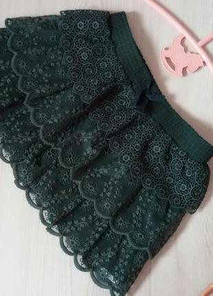 Кружевная юбка zara. зеленая юбочка зара