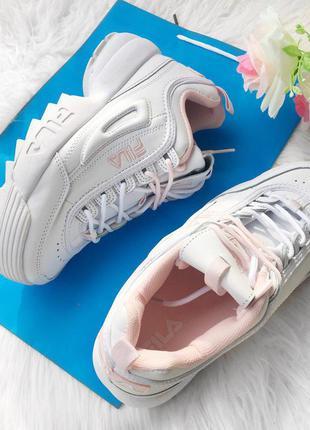 e73cad34 Fila disruptor 2 белые с розовым кроссовки новые натур.кожа женские 36-40