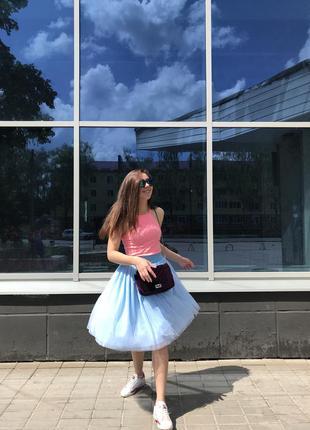 Голубая юбка пачка ( шопенка) из фатина