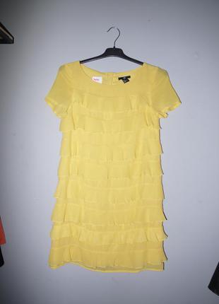 H&m  платье с рюшами желтое мини  ( платье футляр ) шифоновое новое ( сток)