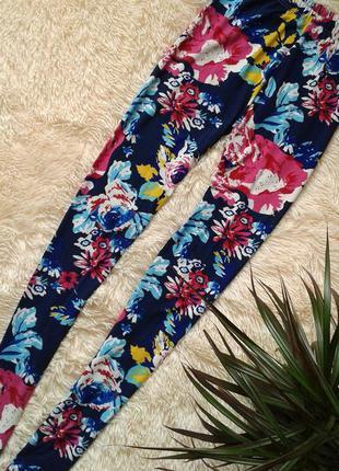 Яркие летние лосины/леггинсы с цветочным принтом, размер s/m