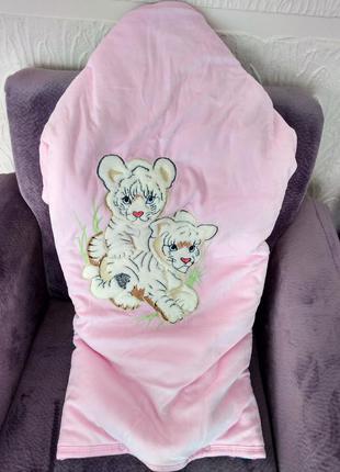 Конверт для ребёнка, для девочки, розовый, для новорожденного ребенка, велюровый конверт