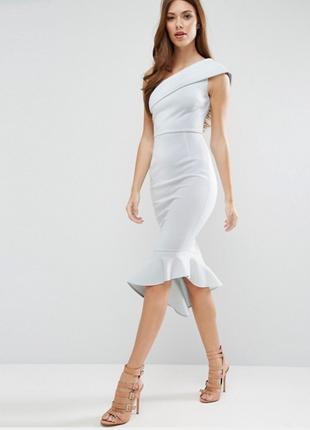 Платье миди на одно плечо с баской asos scuba