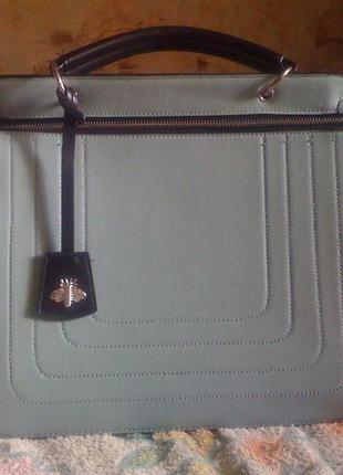 Вместительная сумочка мятного цвета длинная/короткая ручка
