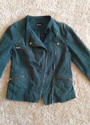 Курточка- косуха зелена шкіряна, розмір м