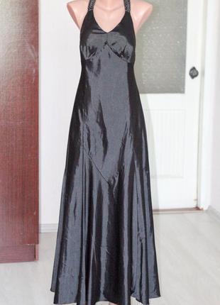 Черное длинное атласное платье laura scott  размер l выпускное платье на бретелях