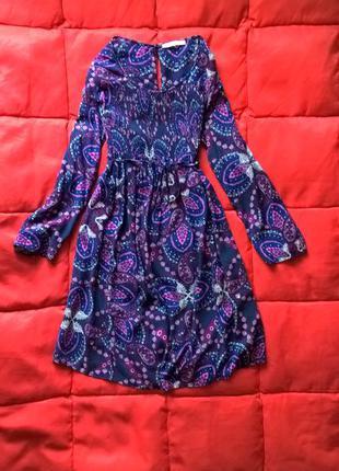 Фиолетовое платье в цветочный принт,в стиле бохо,на пояске