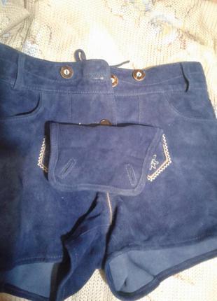 Синие шикарные шорты из натуральной бархатной кожи ,м /esmara.3
