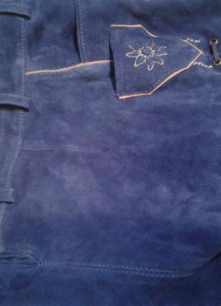 Синие шикарные шорты из натуральной бархатной кожи ,м /esmara.4