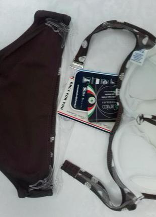 Juliana m-311 marko коричневый раздельный купальник в горошек4 фото