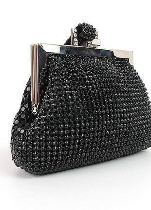 Черная маленькая сумка-клатч из камней вечерняя через плечо