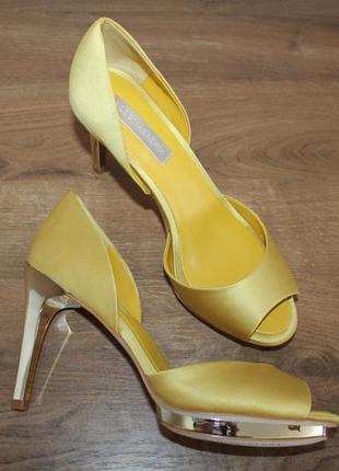 Туфли bcbg max azria osario women open toe canvas yellow platform heel, 38 размер