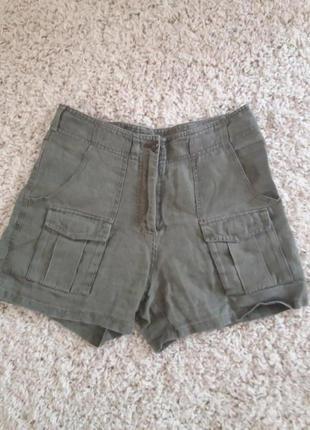 Короткие шорты h&m 100% лен
