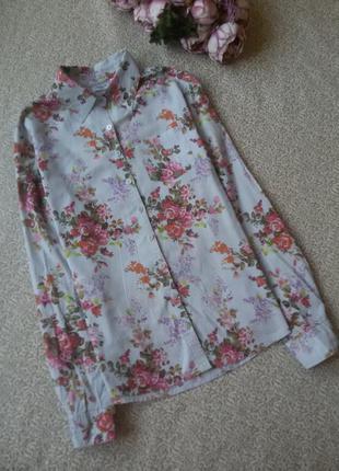 Рубашка в цветочек хлопок la redoute la redoute