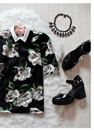 Блуза с коротким рукавом в крупные цветы river island