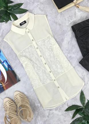Блуза с округлым воротничком и гипюровыми вставками   bl1820118  george
