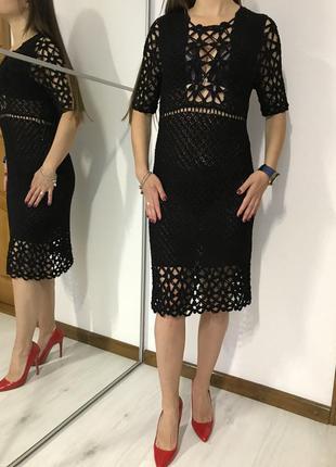 Шикарное вязанное крючком платье, миди,  handmade