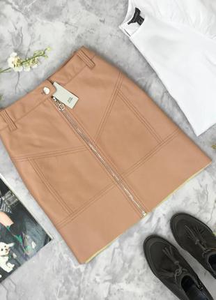Стильная юбка - кожанка с акцентной молнией на лицевой части   ki182096