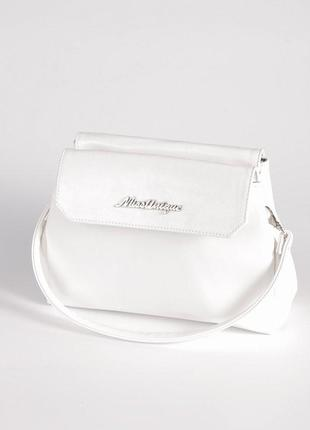 Белая маленькая сумка через плечо кросс боди на три отделения