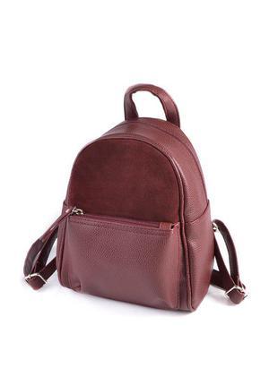 Бордовый маленький женский рюкзак с замшевой вставкой