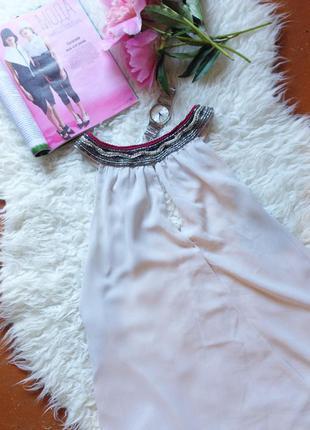 Шифоновая блуза с бусинами бисером вышивкой