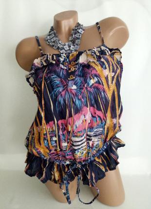 34-36/xs-s/6-8 river island. хлопковая летняя блуза с красивым рисунком