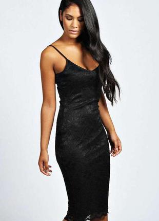 Платье миди чёрное кружевное от boohoo