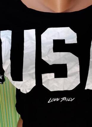 Кроп топ укороченная футболка чёрная с надписью р. хс-с от  tally weijl