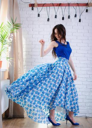 Летние платье-сарафан с нежным цветным прнтом 36 , 38 , 40