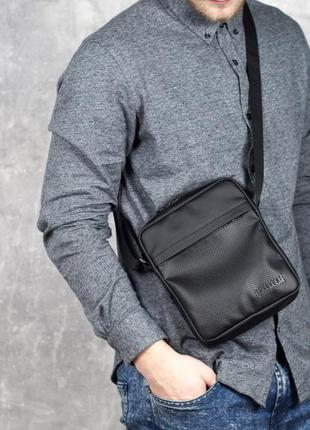 Черная мужская сумка - планшет, мессенджер кожаный (сумка через плечо) eco leather black