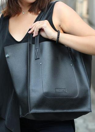 Черная женская сумка - шоппер кожаная (экокожа) shopper 01 black