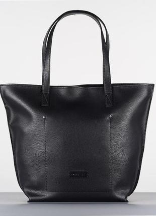 Черная женская сумка - шоппер кожаная (экокожа) shopper 02 black на молнии