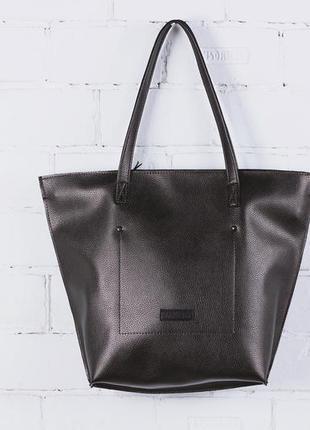 Бронзовая женская сумка - шоппер кожаная (экокожа) shopper 02 bronze на молнии