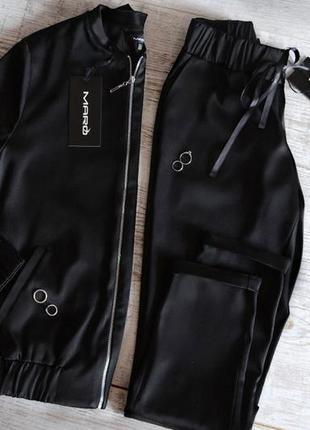Атласный бомбер костюм брючный куртка весенняя спортивный стиль лиловый черный