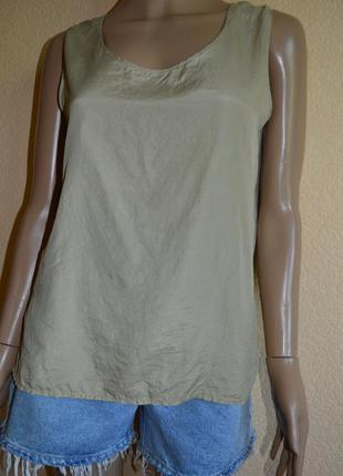 Майка,блуза. цвет оливковый.натуральный шелк.