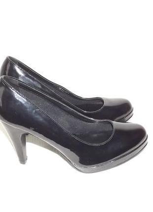 Туфли лакированные чёрные graceland 24 стелька каблук