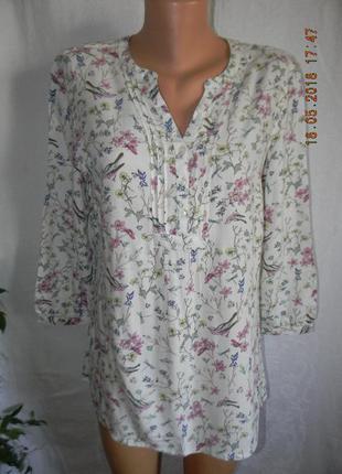 Легкая натуральная блуза с принтм m&co