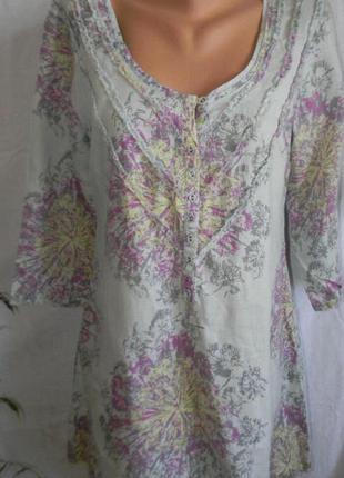 Льняное платье с нежным принтом white stuff