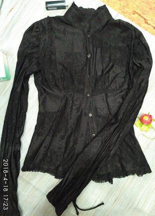 Великолепная черная кружевная блуза, блузка, рубашка, корсет р.xs-m