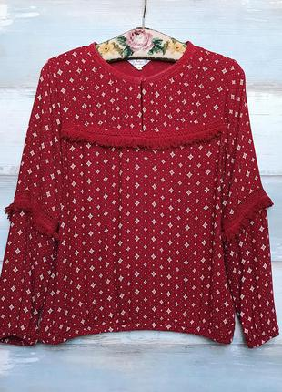 Красная блуза с принтом бахромой бохо falmer heritage