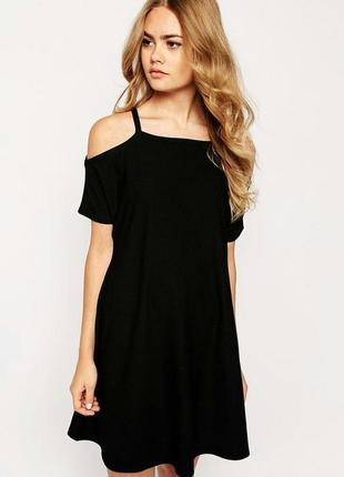 Свободное черное миди платье