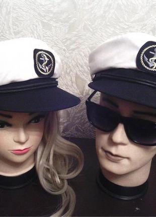 Кепка, капитанка, морской стиль, фуражка, шляпа мужская, женская