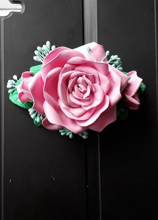 Заколка роза ручная работа