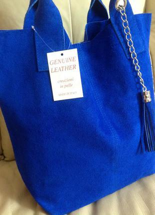 Vip - шикарная замшевая сумка шоппер - китица – италия – новая
