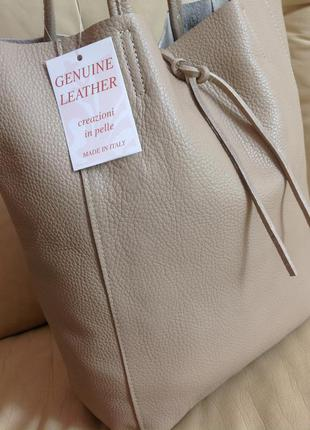 Vip крутая большая кожаная сумка шоппер – 100% натуральная мясистая кожа - италия - новая