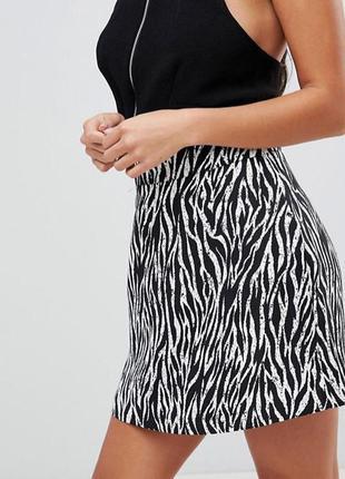 Мини-юбка с зебровым принтом asos petite tailored